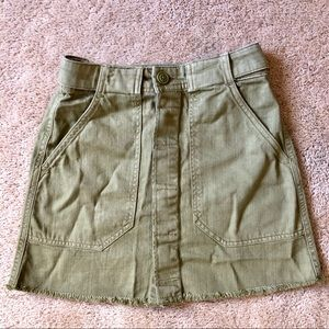 H&M olive military denim mini skirt